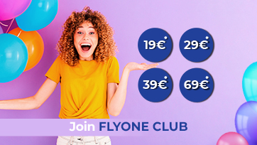 Join the FLYONE Club and get a 5 euro discount for each flight
